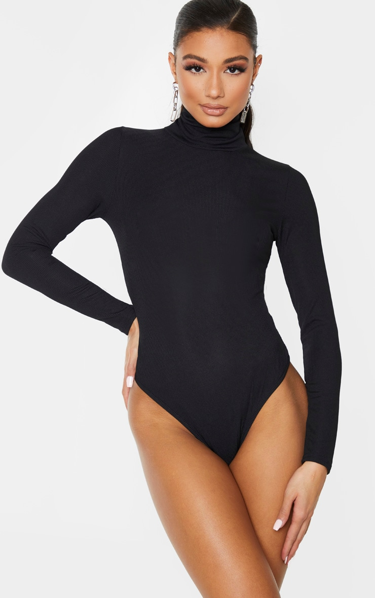 Black Long Sleeve Rib Roll Neck Bodysuit 2