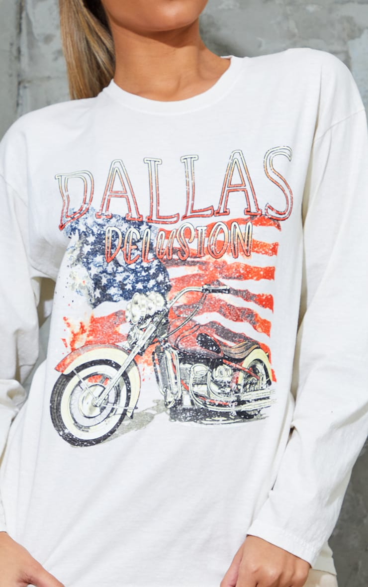 Cream Dallas Printed Stone Washed Long Sleeve T Shirt 4