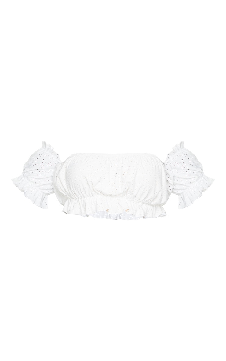 Plus White Broderie Bardot Puff Sleeve Crop Top 5