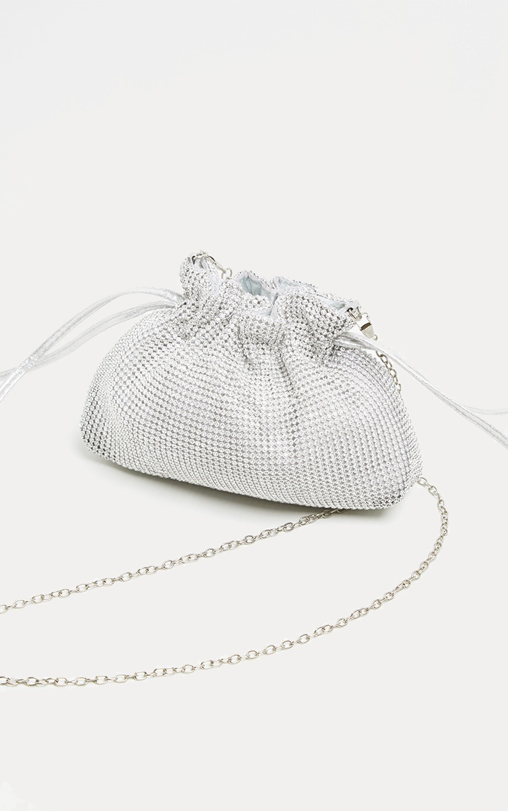 Silver Diamante Drawstring Pouch 4