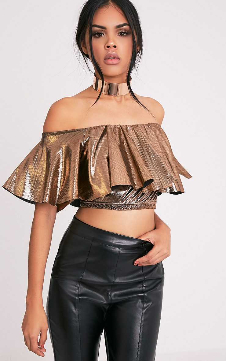 Tobie Copper Metallic Bardot Ruffle Crop Top 1