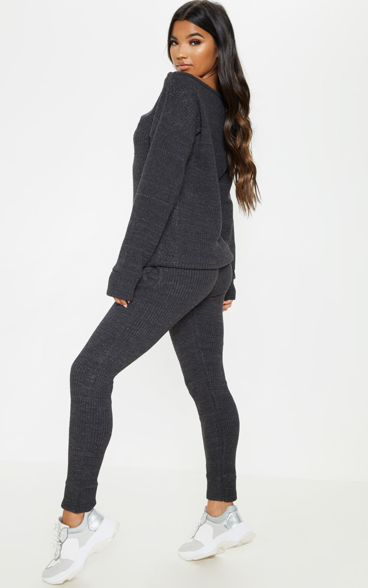 Charcoal Knitted Rib Jogger Co Ord 2