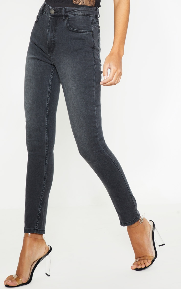 Jean skinny gris anthracite à 5 poches 2