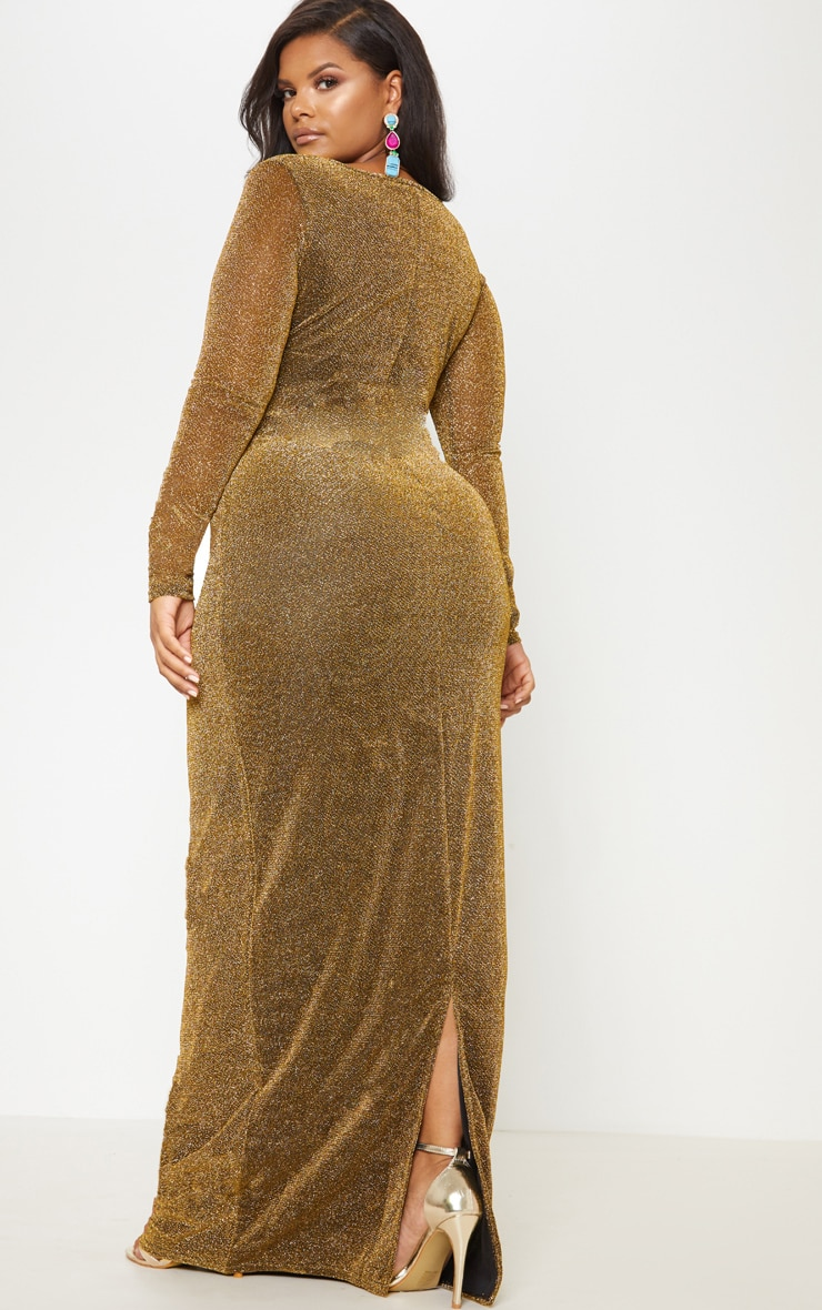 Gold Textured Glitter Plunge Knot Detail Maxi Dress 3