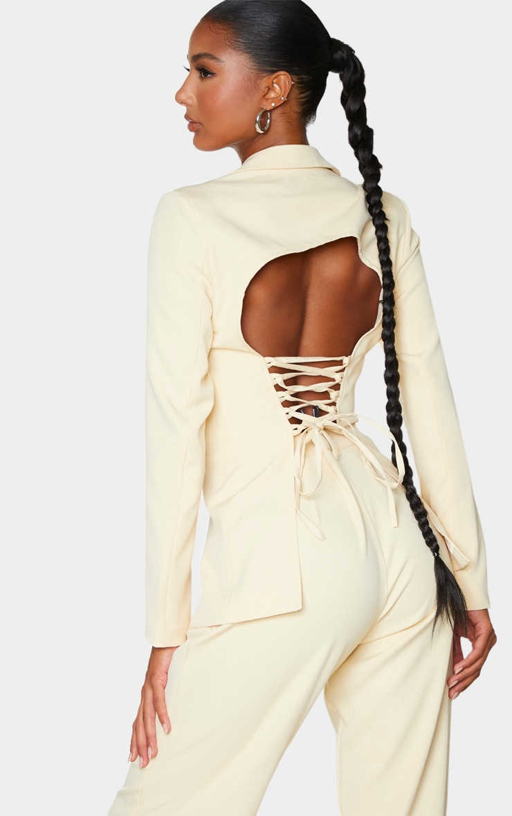 Cream Fitted Lace Up Back Blazer 4