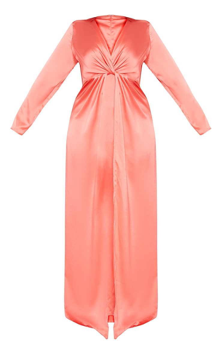 Plus Coral Twist Front Maxi Dress 3