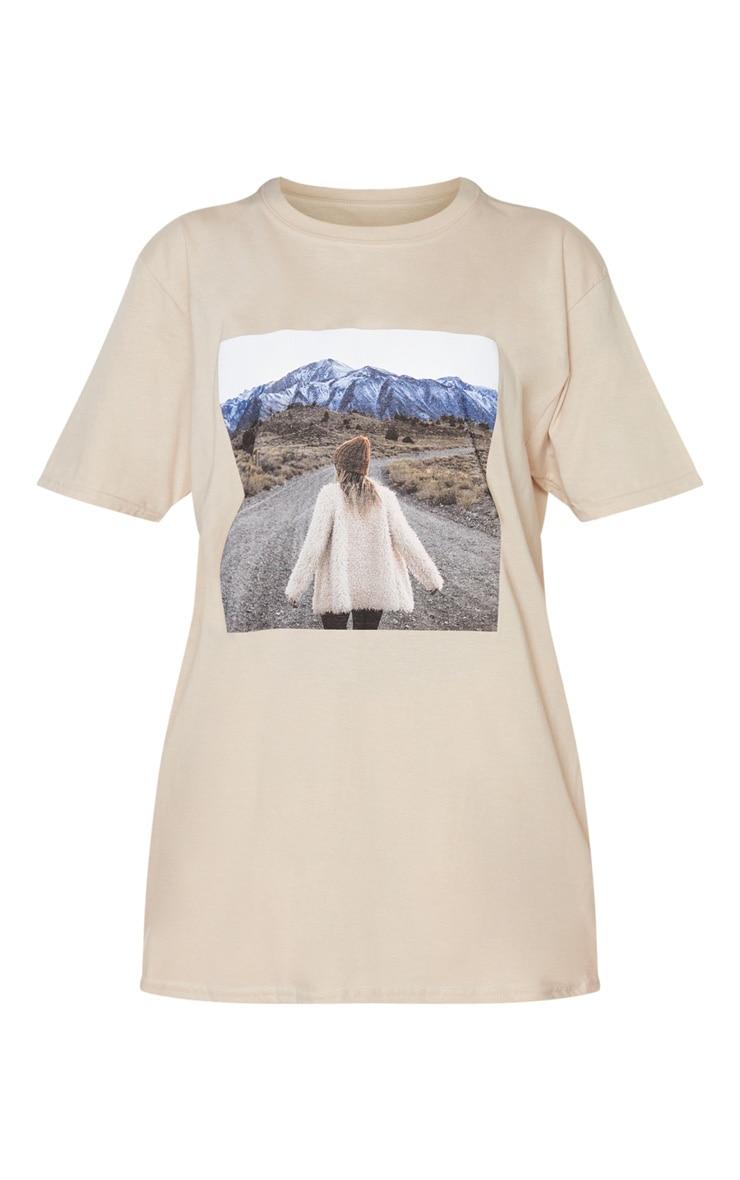 Tee-shirt sable à imprimé photo paysage 3