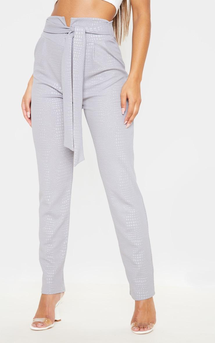 Grey Croc Print Tie Waist Skinny Trouser 2