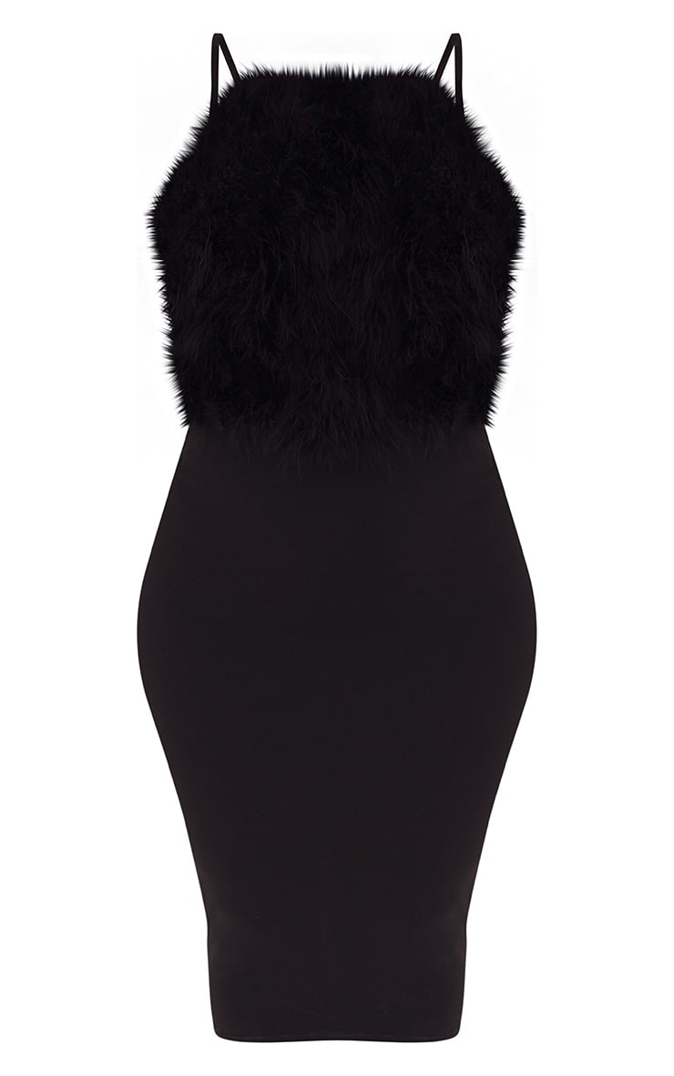 Black Feather Bust Strappy Midi Dress 3