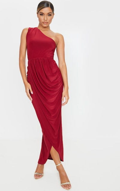 Burgundy Slinky Drape Detail One Shoulder Maxi Dress