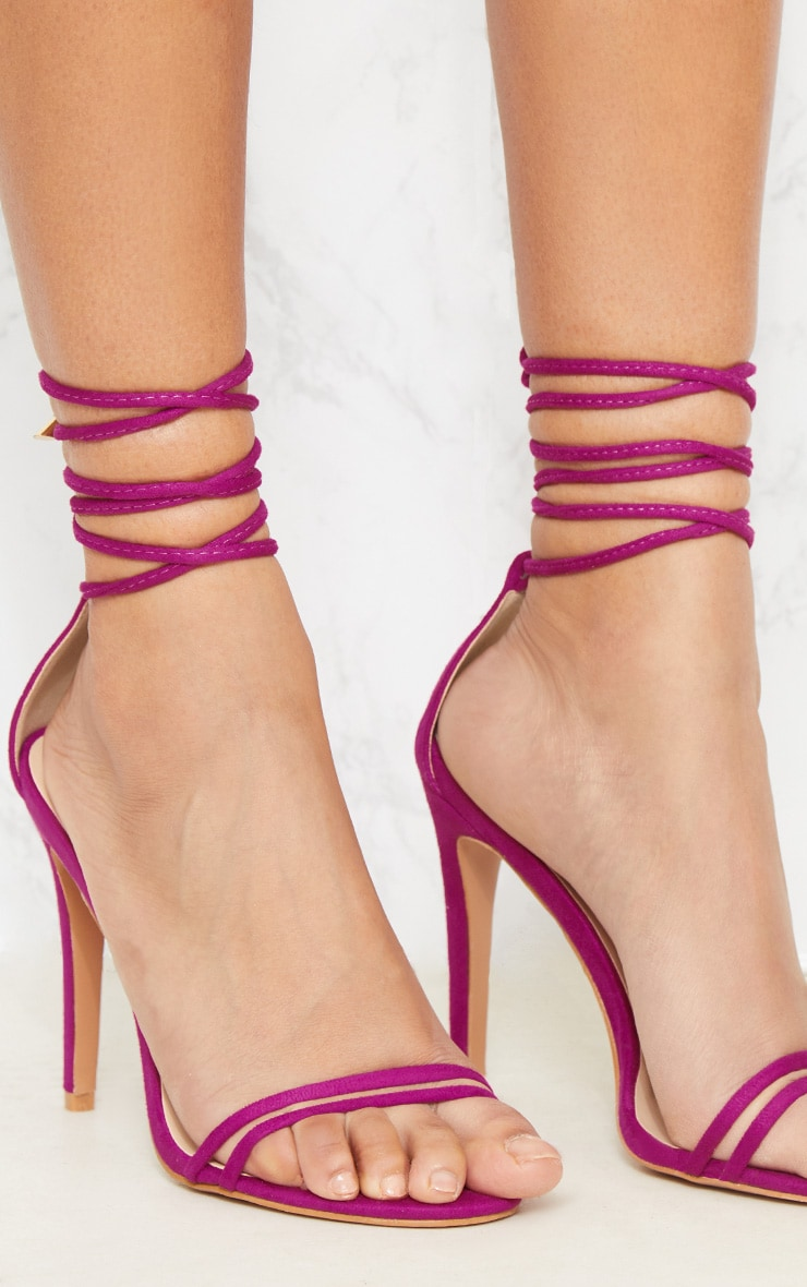 Fuchsia Strappy Barely There Ankle Tie Sandal 5