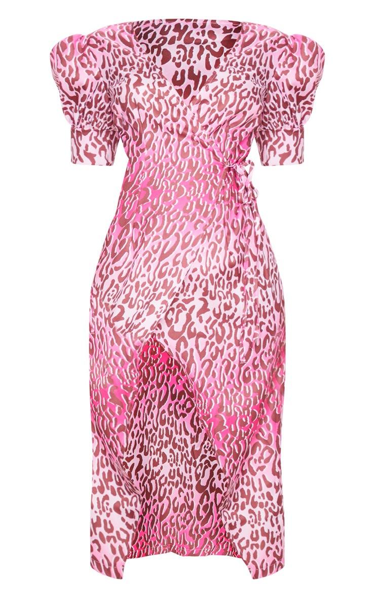 Pink Leopard Print Wrap Tie Puff Sleeve Midi Dress 5