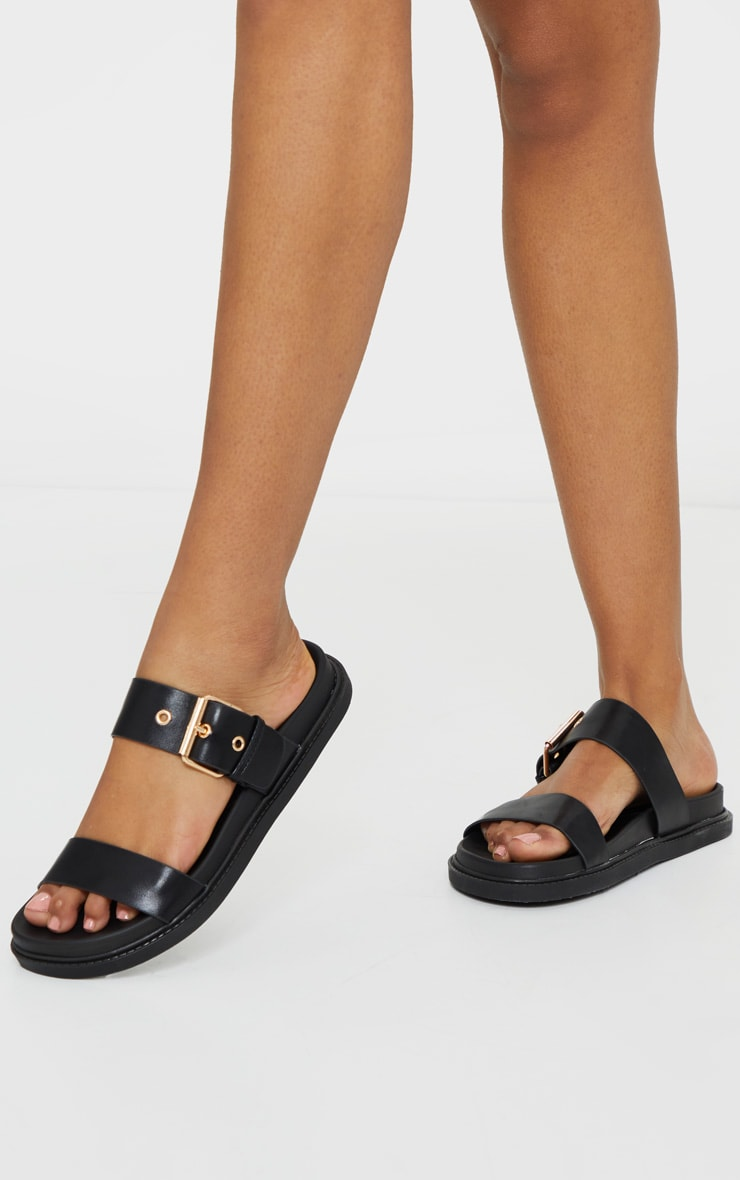 Black Double Strap Sliders 2