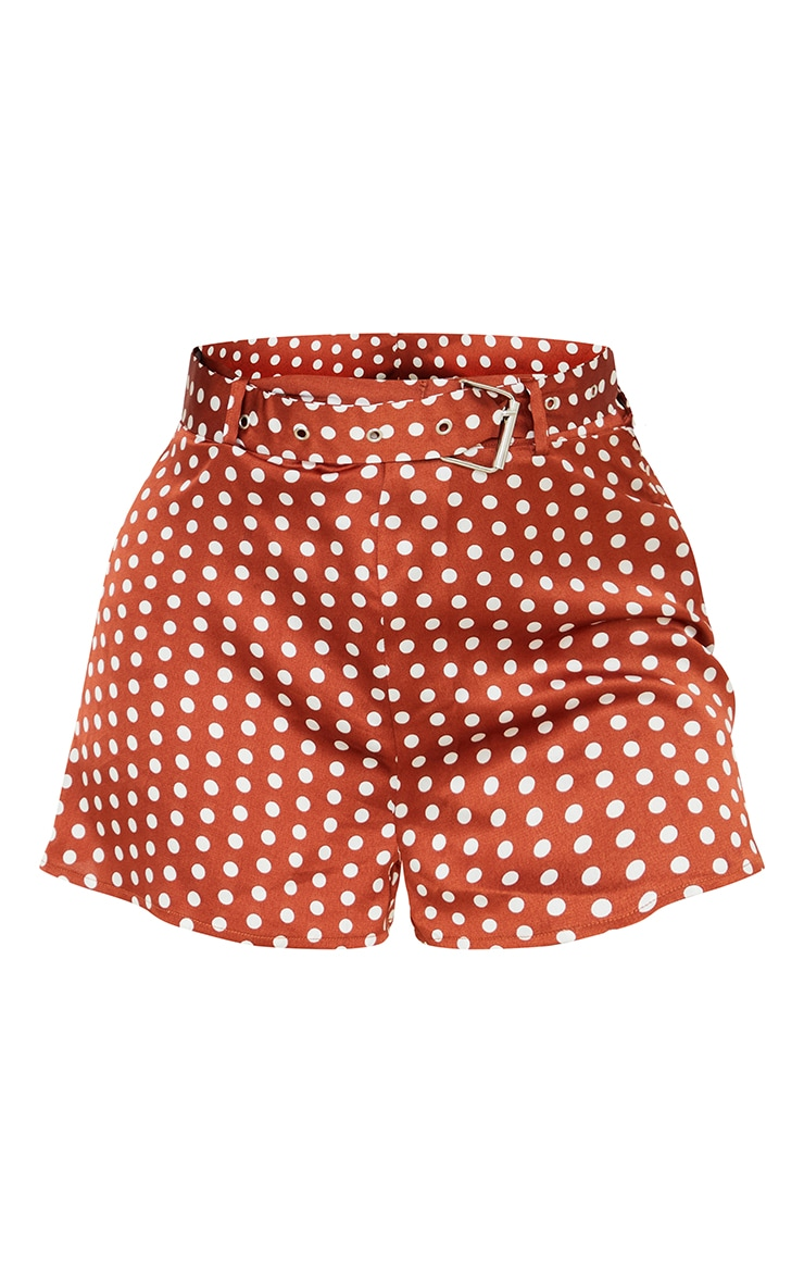 Petite Rust Polka Dot Belted Floaty Shorts 6