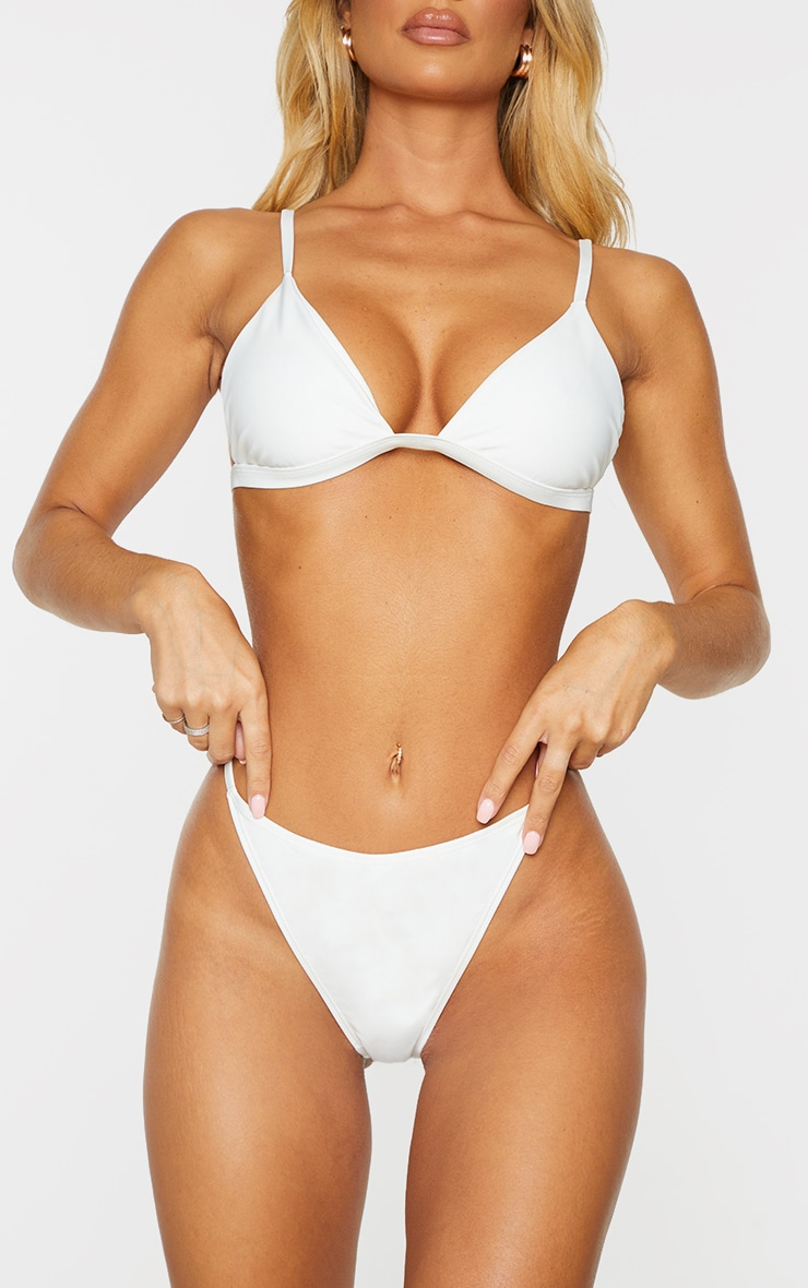 White Mix & Match Recycled Fabric String Thong Bikini Bottoms 1