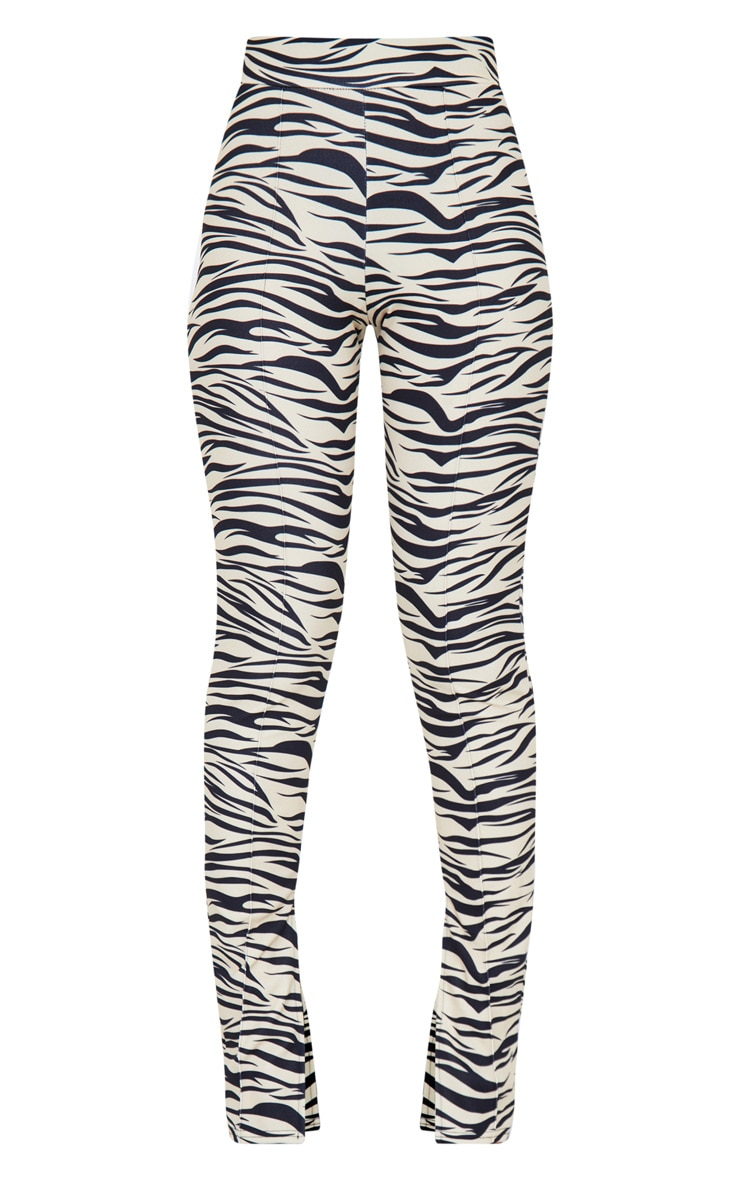 Tiger Print Split Hem Detail Skinny Pants 7