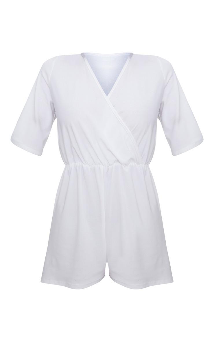 White Crepe Short Sleeve Wrap Playsuit 3