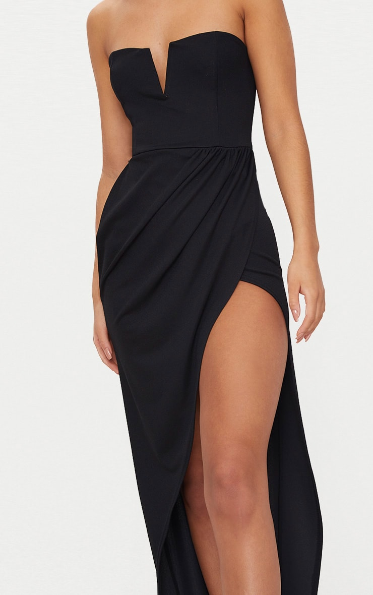 Black Bandeau V Bar Wrap Detail Maxi Dress 5