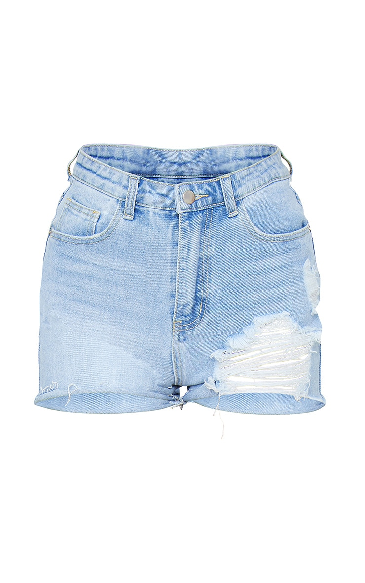 PRETTYLITTLETHING Light Blue Wash Distressed Denim Mom Shorts 6