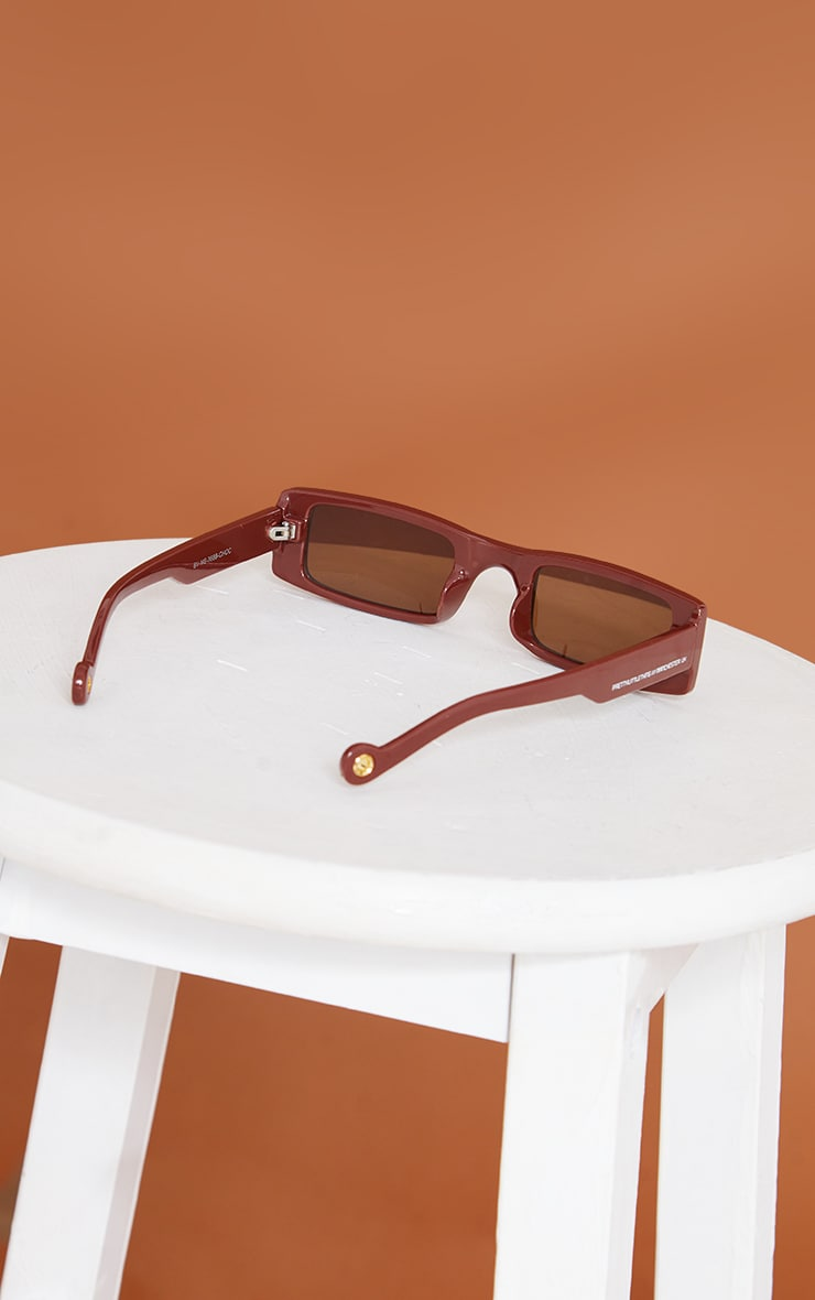 PRETTYLITTLETHING Chocolate Small Square Sunglasses 3