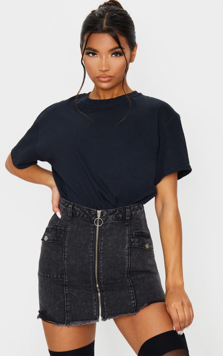 Washed Black Zip Through Double Pocket Denim Skirt 5