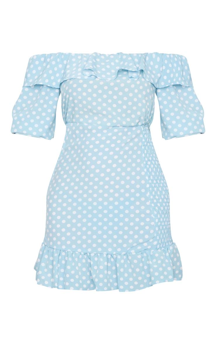 Dusty Blue Polka Dot Shirred Side Bardot Bodycon Dress 5