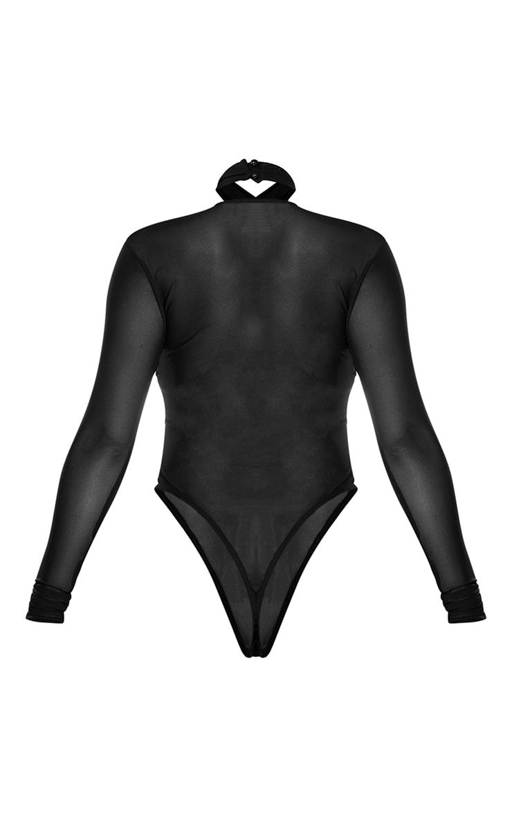 Black Mesh Cross Front Underbust Halterneck Long Sleeve Corset Bodysuit 6