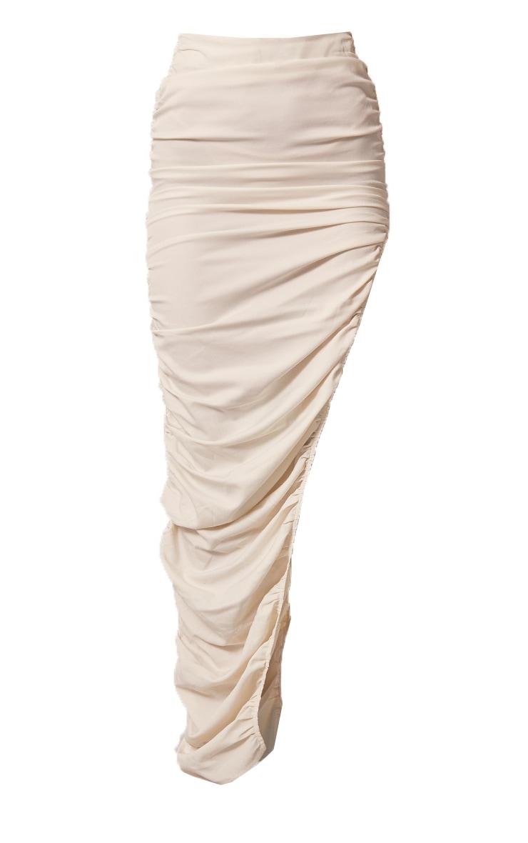 Cream Woven Ruched Side Detail Split Leg Midaxi Skirt 5
