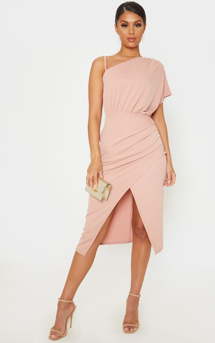 Dusty Pink Drape Detail One Shoulder Midi Dress 1