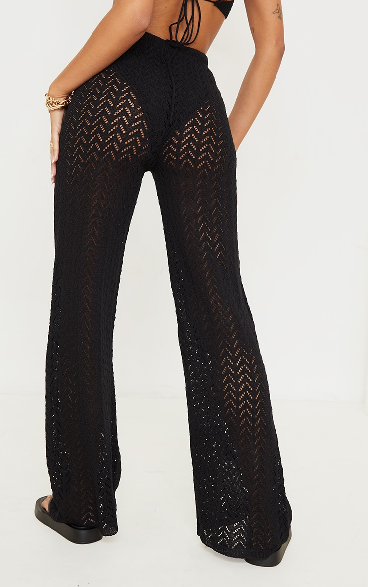 Black Crochet Knitted Flare Trousers 3