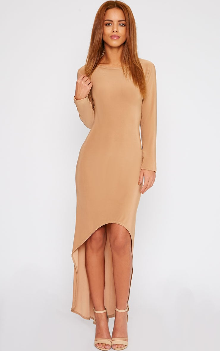 Fearne Camel Slinky Dip Hem Dress 3