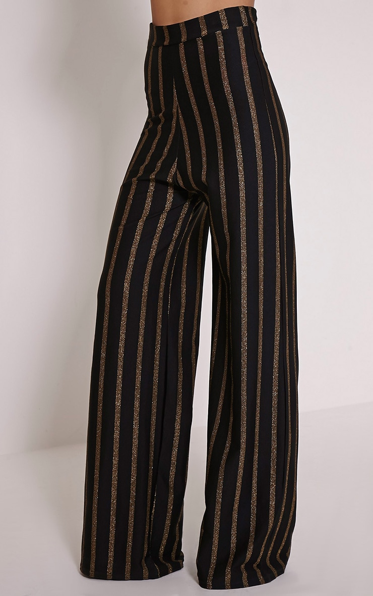 Isabel Black Metallic Stripe Palazzo Trousers 3