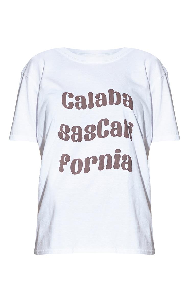 Petite White Calabasas California Slogan T Shirt 5