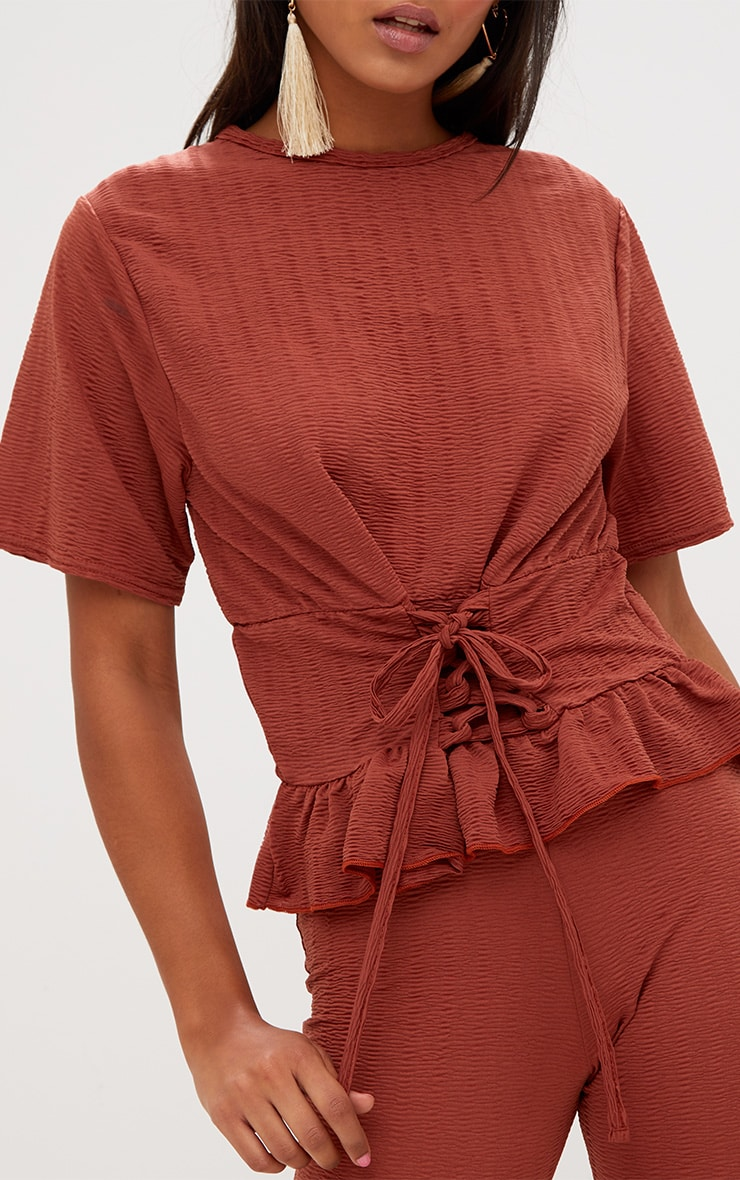 Rust Crinkle Lace Up Frill Top 5