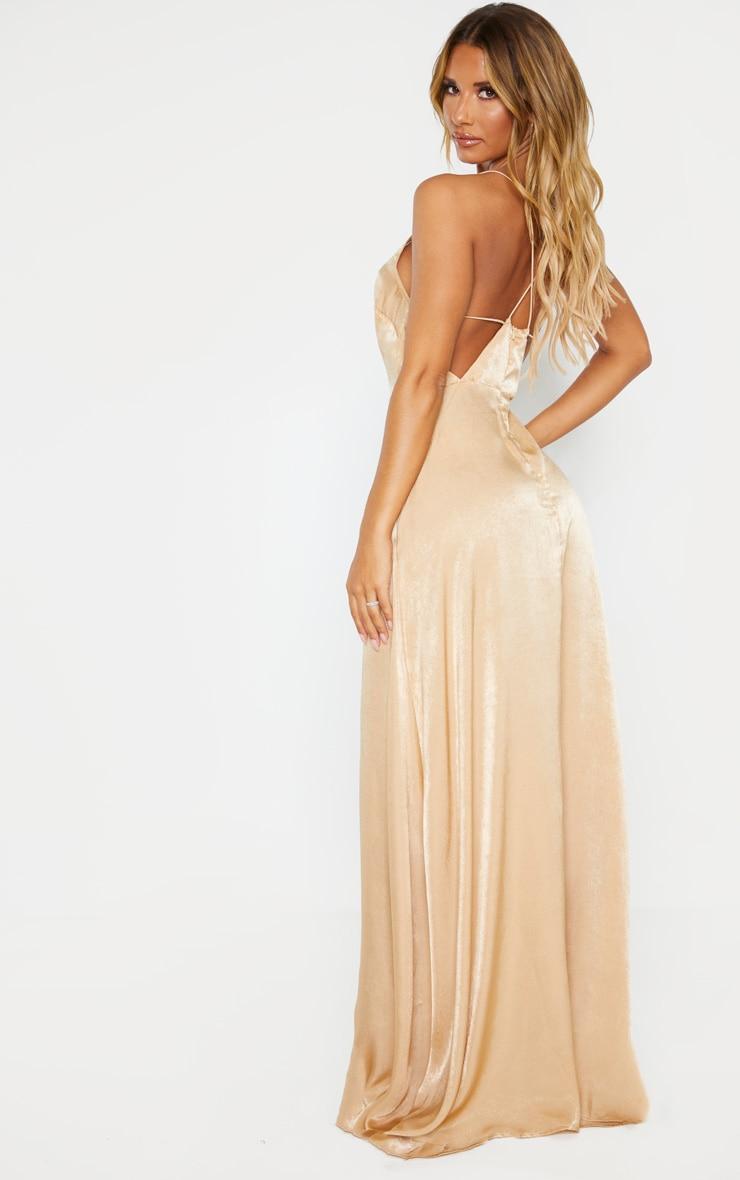 Nude Extreme Split Strappy Back Maxi Dress 2