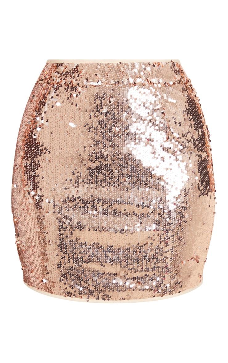 Rose Gold Sequin Detail Mini Skirt 3