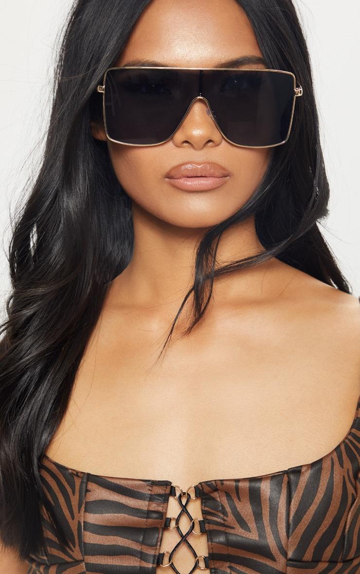 Black Oversize Flat Top Sunglasses 1