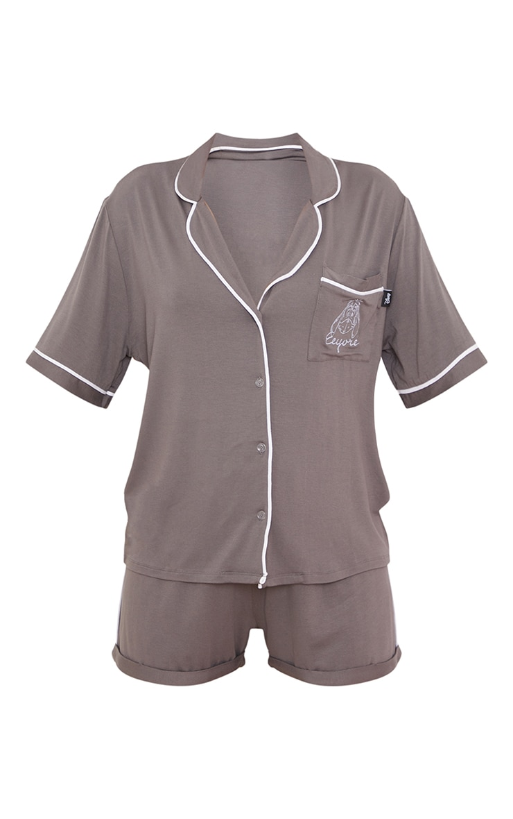 Grey Disney Eeyore Button Up Shorts PJ Set 5