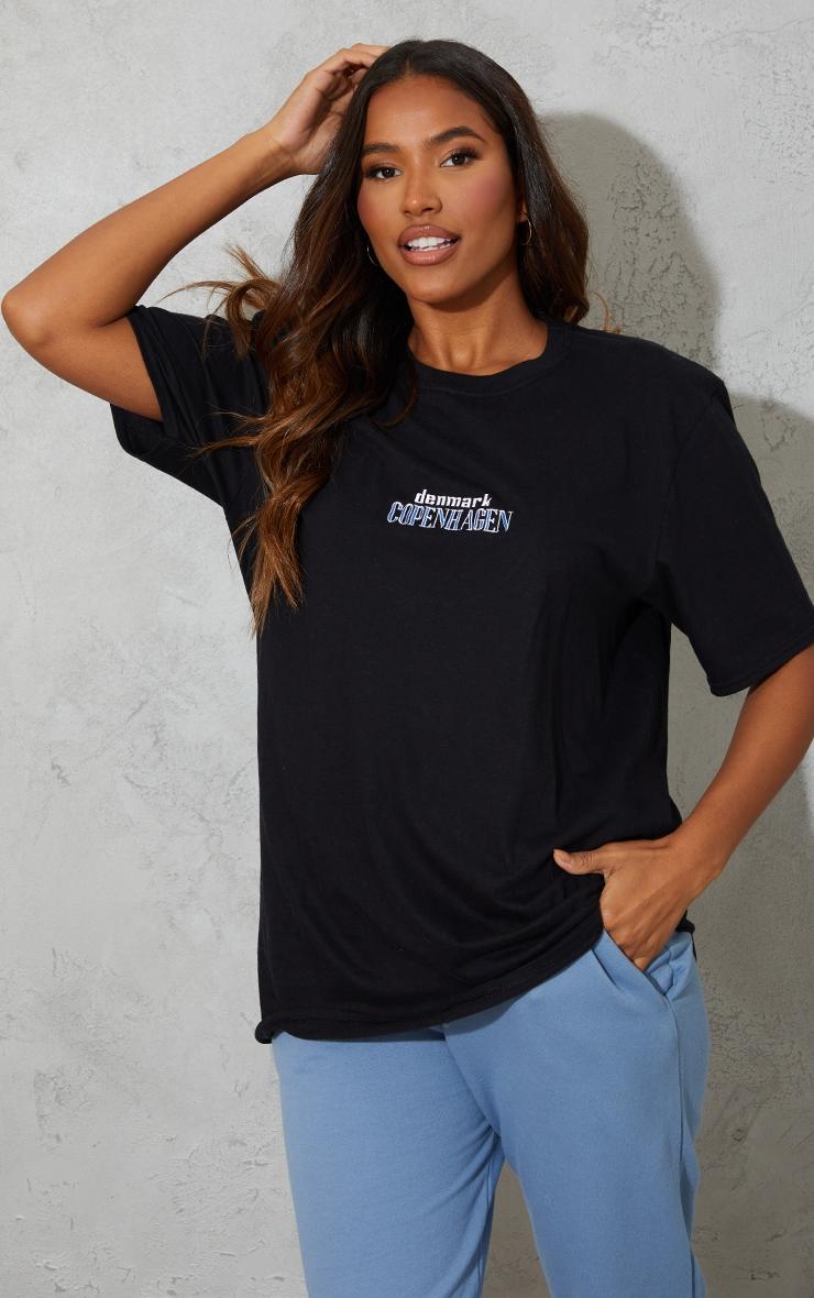 Black Copenhagen Embroidered T Shirt 1