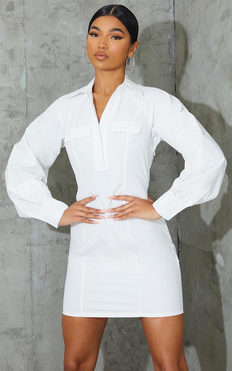 White Pocket Detail Fitted Shirt Dress 1