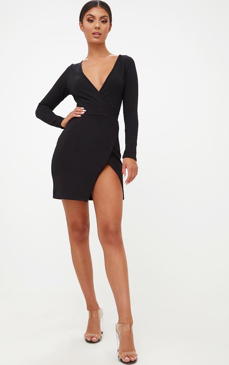 Black Plunge Wrap Detail Thigh Split Bodycon Dress 4