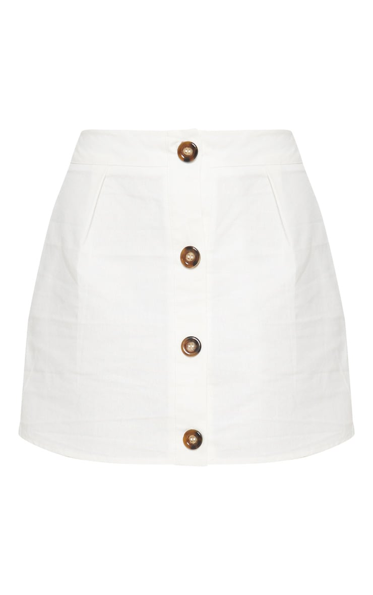 White Cotton Button Detail Mini Skirt 3