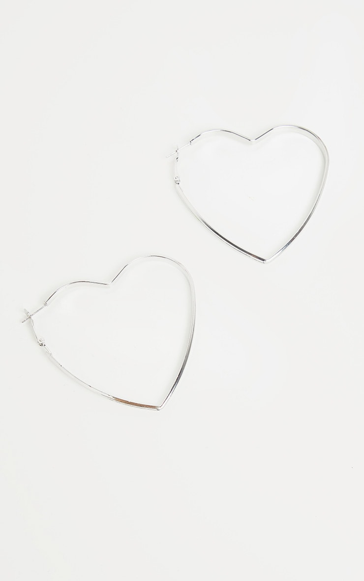 Silver Heart Shape Hoops 3