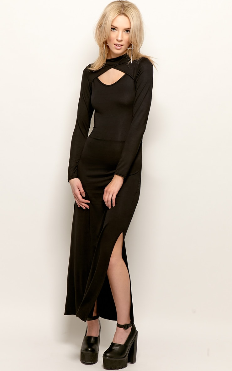 Saskia Black Long Sleeve Cut Out Maxi Dress 4