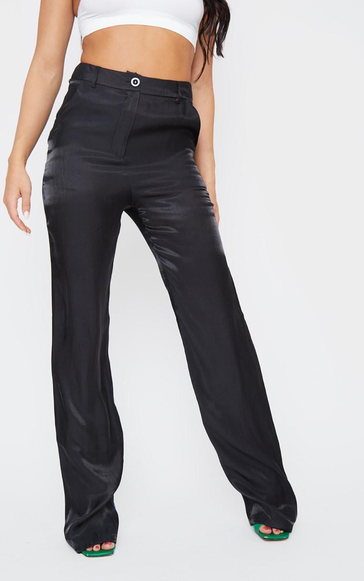 Black Shimmer Satin Straight Leg Pants 2