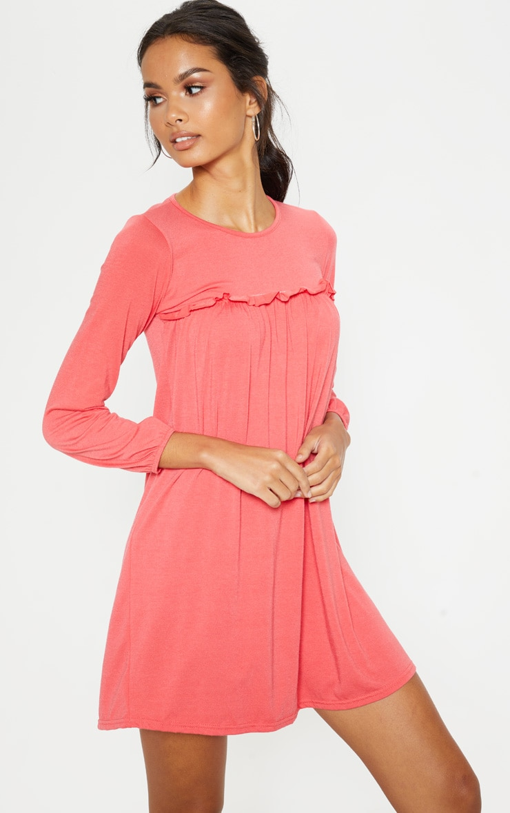 Washed Red Frill Long Sleeve Smock Dress 4