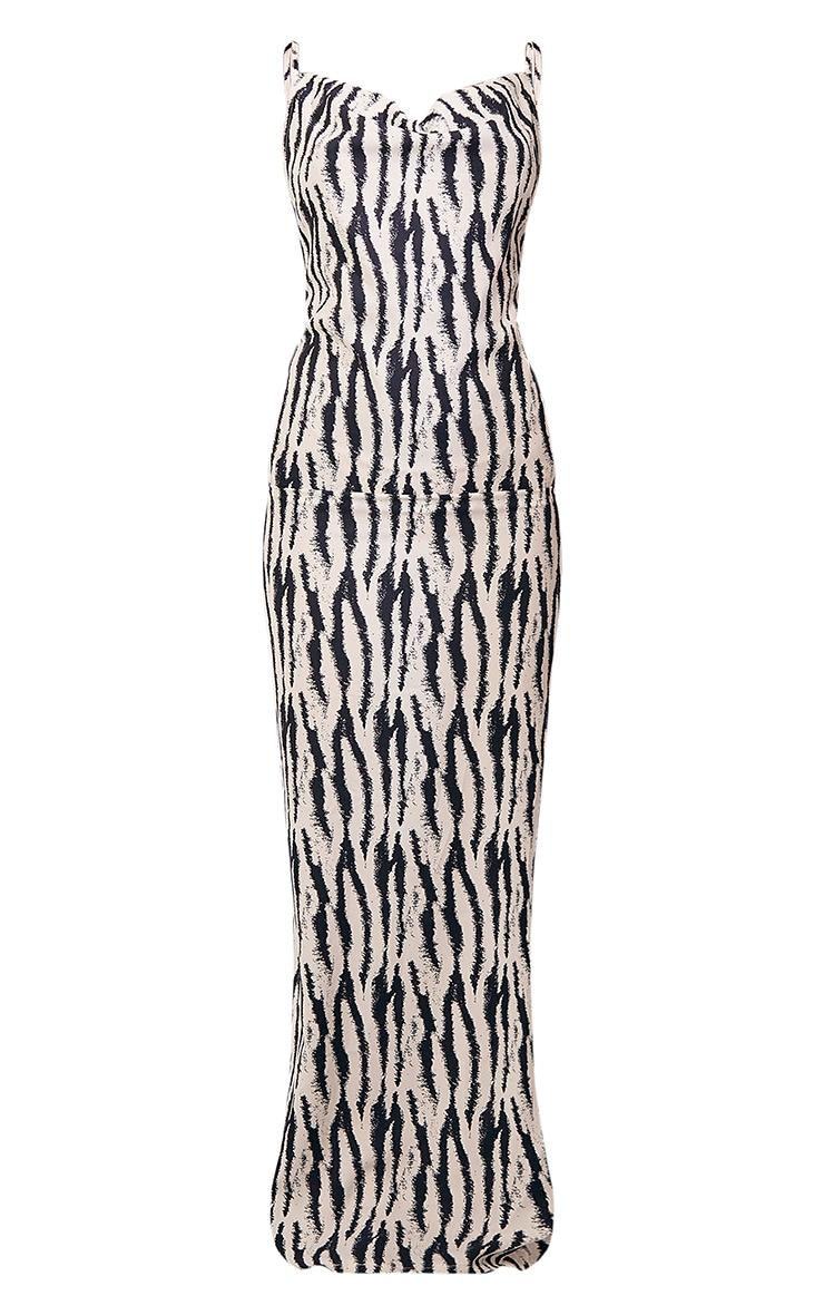 White Zebra Print Satin Cowl Neck Maxi Dress 6