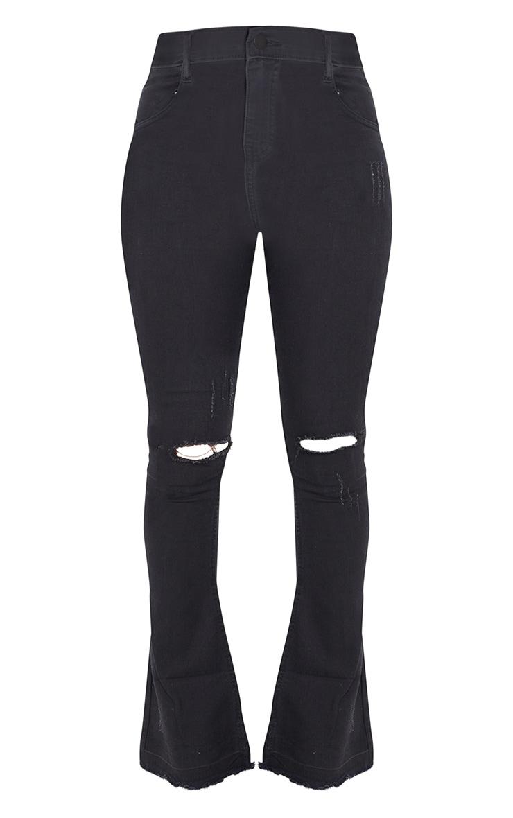 Black Distressed Knee Flare Jean 5