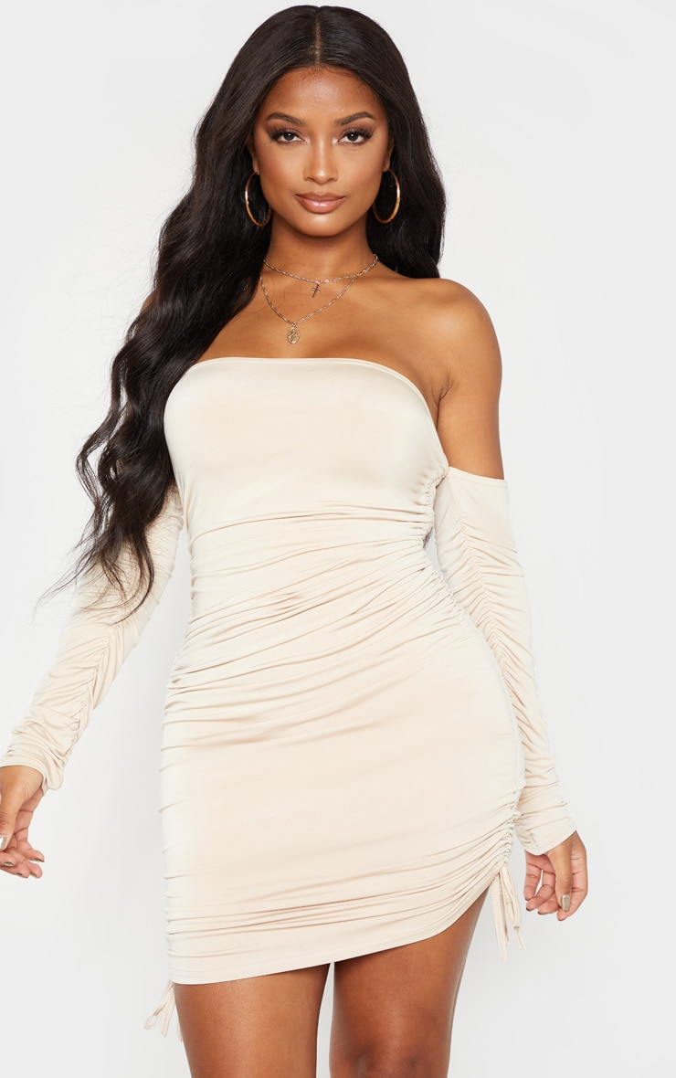 Shape Stone Slinky Ruched Side Bodycon Dress 1