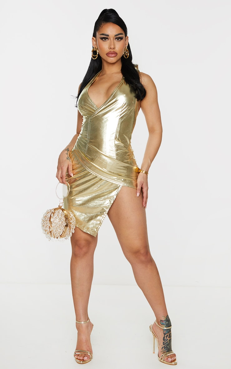 Shape Gold Metallic Halterneck Wrap Detail Bodycon Dress 3